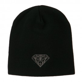 Small Diamond Embroidered Short Beanie