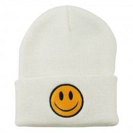 Smiley Face Embroidered Long Beanie - White