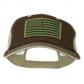 Subdued American Flag Patched Big Size Washed Mesh Cap