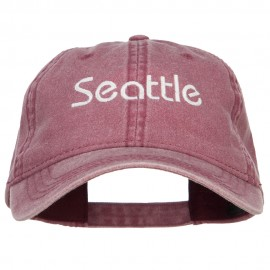 Seattle Embroidered Washed Buckled Cap