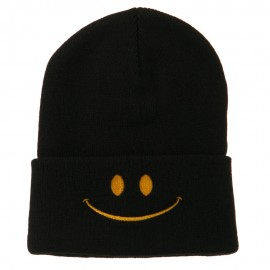 Happy Smiley Face Embroidered Knit Beanie - Black