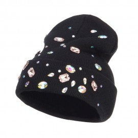 Stones Accented Cuff Long Beanie