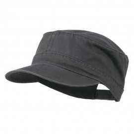 Garment Washed Adjustable Army Cap - Charcoal Grey