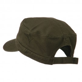 Garment Washed Adjustable Army Cap - Dk Olive Green