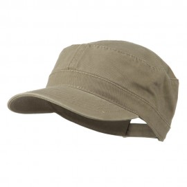 Garment Washed Adjustable Army Cap - Dk Khaki