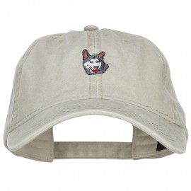 Siberian Husky Embroidered Washed Buckled Cap