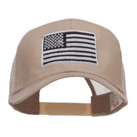 Silver American Flag Embroidered Mesh Cap