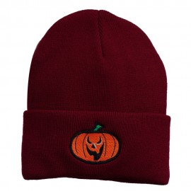 Halloween Scary Jack o Lantern Embroidered Long Beanie