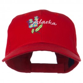 USA State Alaska Flower Embroidered Low Profile Cotton Cap
