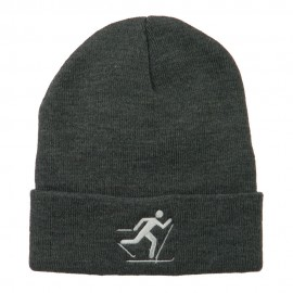 Ski Team Logo Embroidered Long Knit Beanie