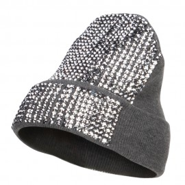 Stones Detailed Knit Long Beanie