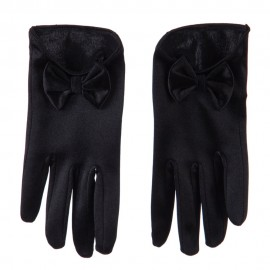 Women's Satin Low Cut Glove With Bow Accent