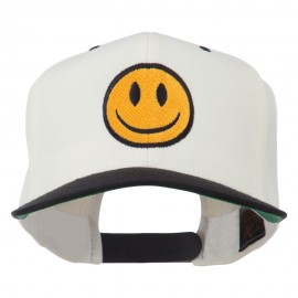 Smiley Face Embroidered Two Tone Cap