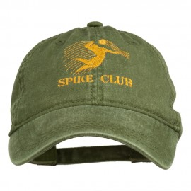 Spike Club Man Volleyball Embroidered Washed Cap - Olive Green