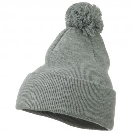 Stretch Cuff Long Beanie with Pom