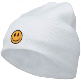 Smiley Face Embroidered Short Beanie