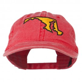 Maryland State Map Embroidered Washed Cap