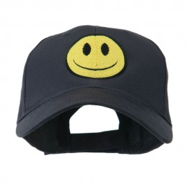 Smiley Face Embroidered Cap - Navy