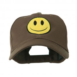 Smiley Face Embroidered Cap - Brown