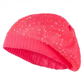 Sequin Nylon Stretchable Beret - Fuchsia