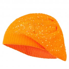 Sequin Nylon Stretchable Beret - Orange