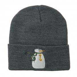 Snowman with Scarf Embroidered Cuff Beanie