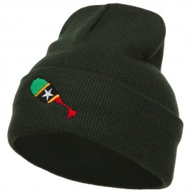 Saint Kitts and Nevis Flag Map Embroidered Long Beanie