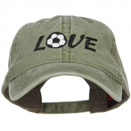 Love with Soccer Ball Embroidered Washed Cotton Cap