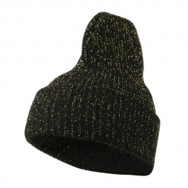 Sparkle Knitted Cuff Beanie - Black