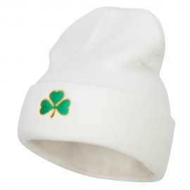 St Patrick's Three Clover Embroidered Long Beanie