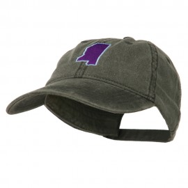 Mississippi State Map Embroidered Washed Cotton Cap - Black
