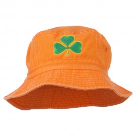 Saint Patrick's Day Clover Embroidered Bucket Hat - Orange