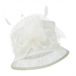 Feather Flower Short Brimmed Sinamay Hat