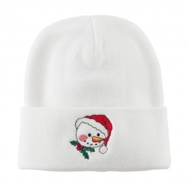 Smiley Snowman Embroidered Beanie