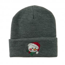 Smiley Snowman Embroidered Beanie - Grey