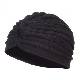 Women's Solid Turban Hat - Black
