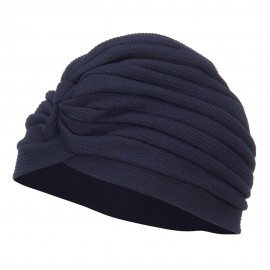 Women's Solid Turban Hat - Navy