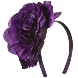 6 Inch Flower Satin Covered Headband - Dark Purple