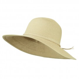 Paper Braid Flat Brim Self Tie Hat - Tan