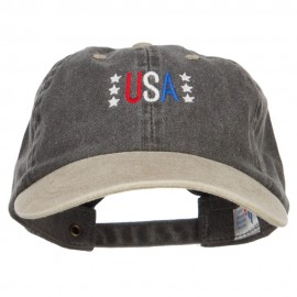 USA Stars Embroidered Two Tone Washed Cap