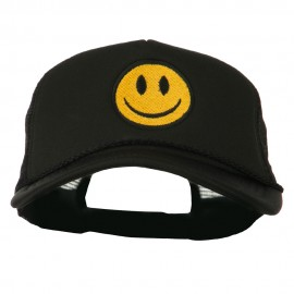 Smiley Face Embroidered Big Size Trucker Cap - Black