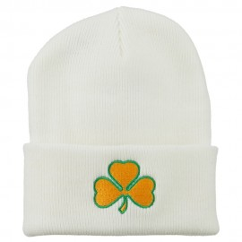St.Patrick's Day Clover Embroidered Long Beanie - White