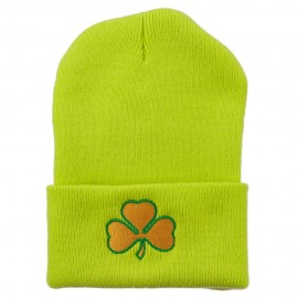 St.Patrick's Day Clover Embroidered Long Beanie