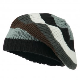 Striped Knit Winter Beret