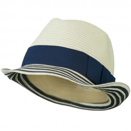 Women's Paper Braid Fedora Hat with Striped Brim - Cream Navy