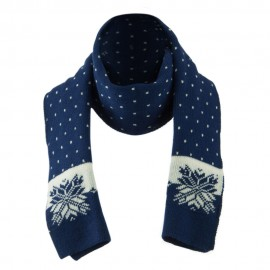 Large Snowflake Designed Scarf - Blue
