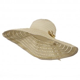 Striped Hat with Flower And Ribbon Design - Tan