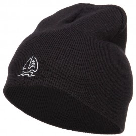Sailboat Wave Embroidered Short Beanie