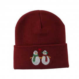 Snowmen with Heart Embroidered Beanie - Maroon