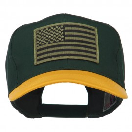 Subdued American Flag Patched Two Tone High Cap - Gold Green